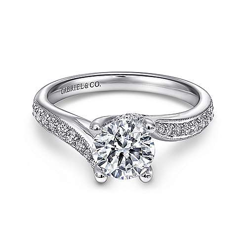 Gabriel - Marcy 14k White Gold Round Bypass Engagement Ring