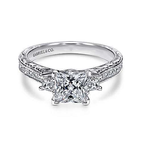 Margaret 14k White Gold Princess Cut 3 Stones Engagement Ring angle 1