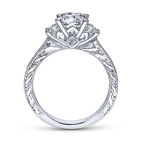 Margaret 14k White Gold Princess Cut 3 Stones Engagement Ring angle 2