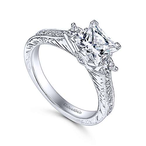 Margaret 14k White Gold Princess Cut 3 Stones Engagement Ring angle 3