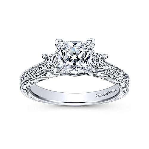 Margaret 14k White Gold Princess Cut 3 Stones Engagement Ring angle 5