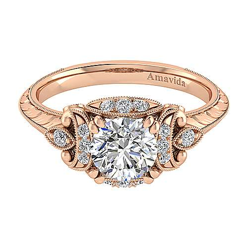 Gabriel - Margarita 18k Rose Gold Round Halo Engagement Ring