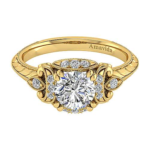 Gabriel - Margarita 18k Yellow Gold Round Halo Engagement Ring