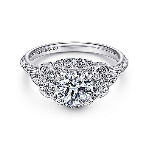 Gabriel - Margarita Platinum Round Halo Engagement Ring