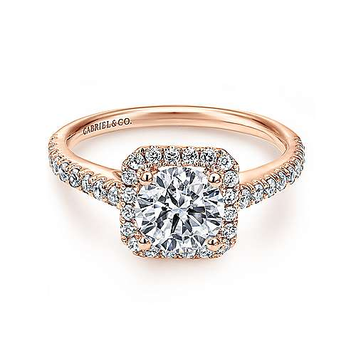 Margot 14k Pink Gold Round Halo Engagement Ring angle 1