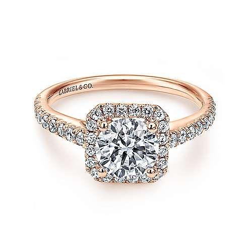 Gabriel - Margot 14k Pink Gold Round Halo Engagement Ring