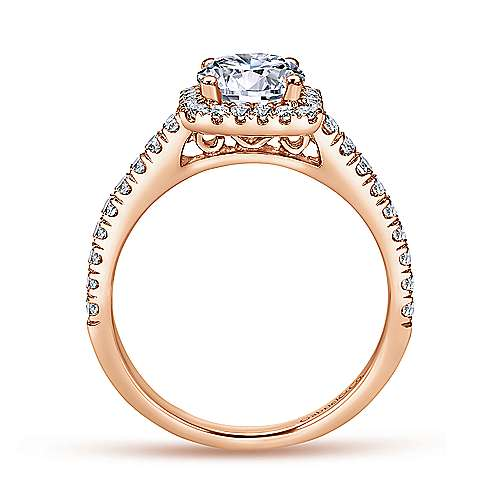 Margot 14k Pink Gold Round Halo Engagement Ring angle 2