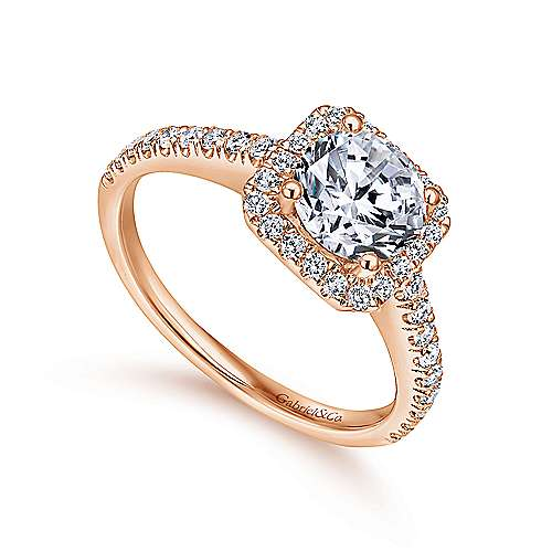Margot 14k Pink Gold Round Halo Engagement Ring angle 3
