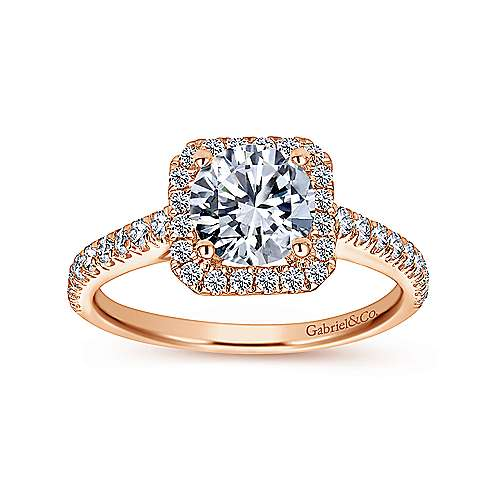 Margot 14k Pink Gold Round Halo Engagement Ring angle 5