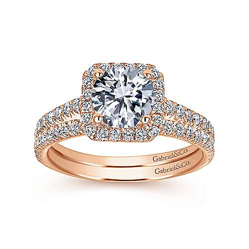 Margot 14k Rose Gold Round Halo Engagement Ring angle 4