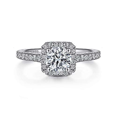 Margot 14k White Gold Round Halo Engagement Ring angle 1
