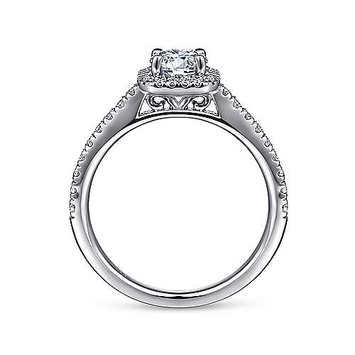 Margot 14k White Gold Round Halo Engagement Ring angle 2