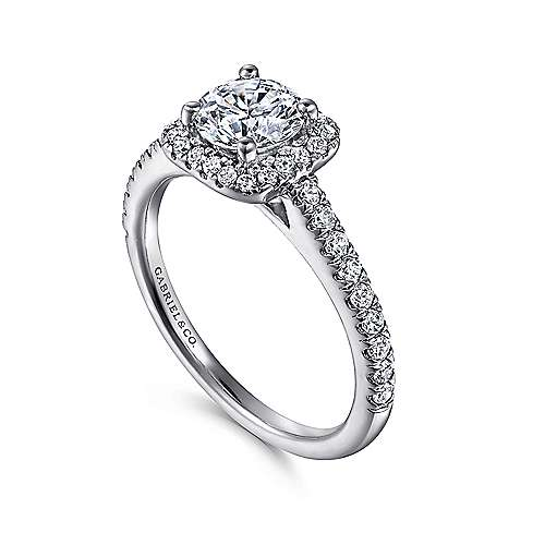 Margot 14k White Gold Round Halo Engagement Ring angle 3