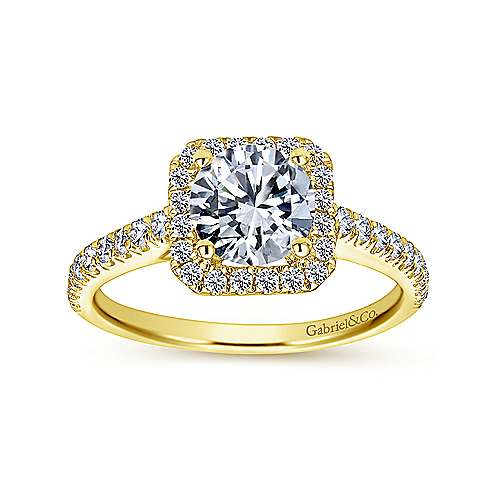 Margot 14k Yellow Gold Round Halo Engagement Ring angle 5