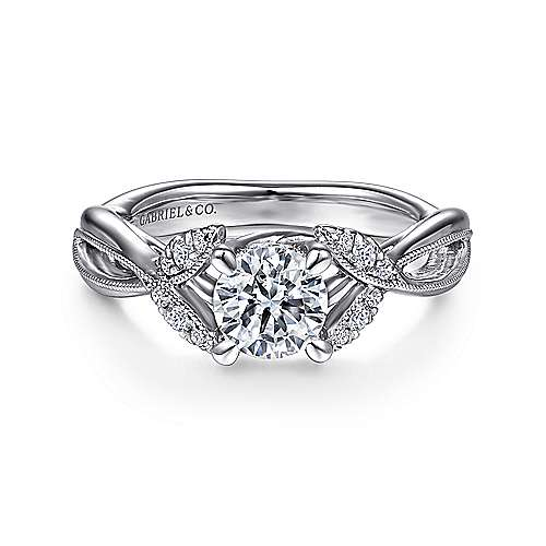 Gabriel - Marguerite 14k White Gold Round Twisted Engagement Ring