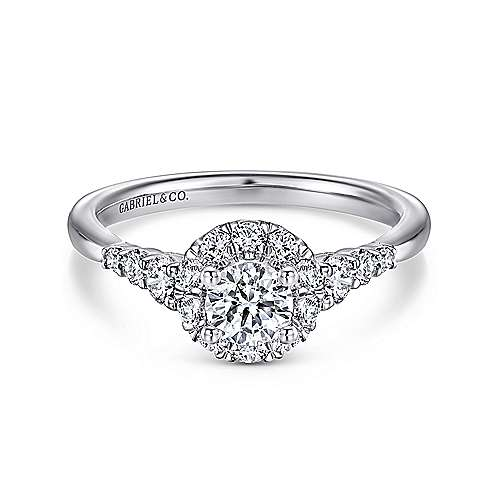 Gabriel - Maria 14k White Gold Round Halo Engagement Ring