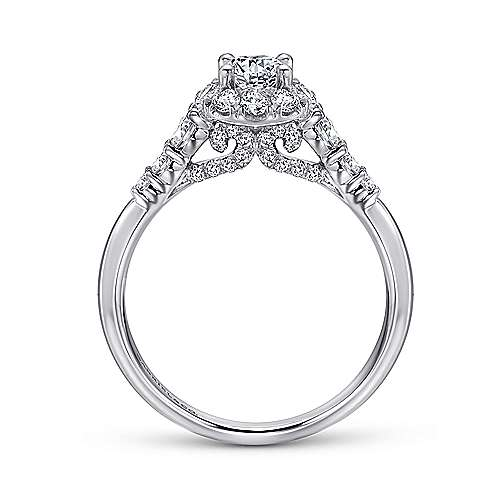 Maria 14k White Gold Round Halo Engagement Ring angle 2