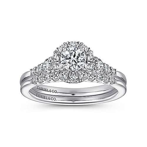 Maria 14k White Gold Round Halo Engagement Ring angle 4