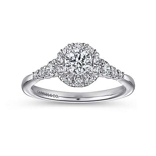 Maria 14k White Gold Round Halo Engagement Ring angle 5