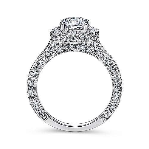 Mariah 14k White Gold Round Halo Engagement Ring angle 2