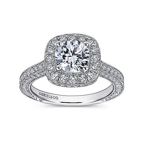 Mariah 14k White Gold Round Halo Engagement Ring angle 5