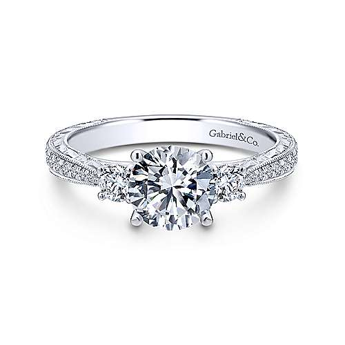Gabriel - Marianna 14k White Gold Round 3 Stones Engagement Ring