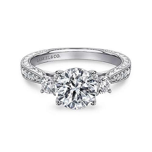 Gabriel - Marianna 14k White Gold Round 3 Stones Engagement Ring