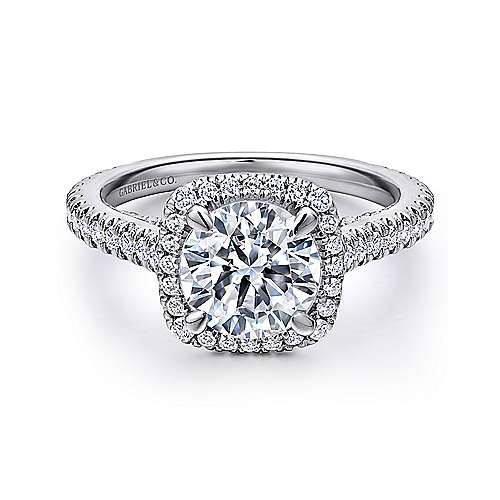 Gabriel - Marie 18k White Gold Round Halo Engagement Ring