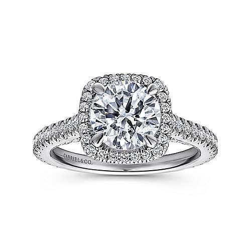 Marie 18k White Gold Round Halo Engagement Ring