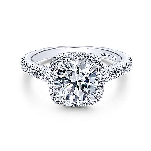 Gabriel - Marie Platinum Round Halo Engagement Ring