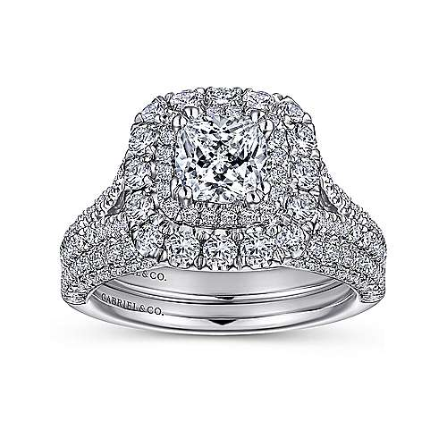 Mariella 14k White Gold Cushion Cut Double Halo Engagement Ring angle 4