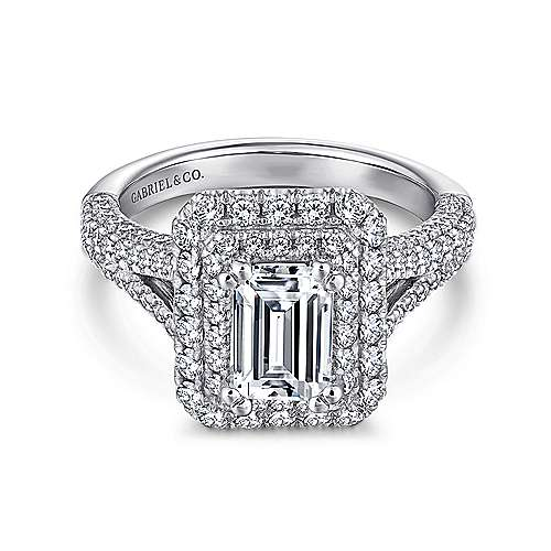 Mariella 14k White Gold Emerald Cut Double Halo Engagement Ring angle 1