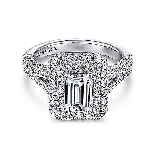 Gabriel - Mariella 14k White Gold Emerald Cut Double Halo Engagement Ring