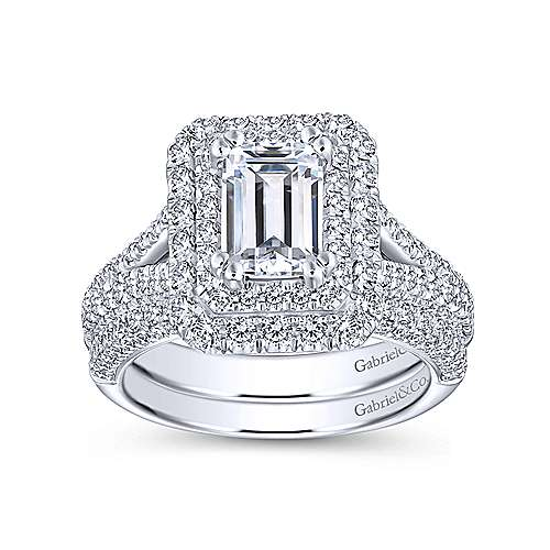 Mariella 14k White Gold Emerald Cut Double Halo Engagement Ring angle 4