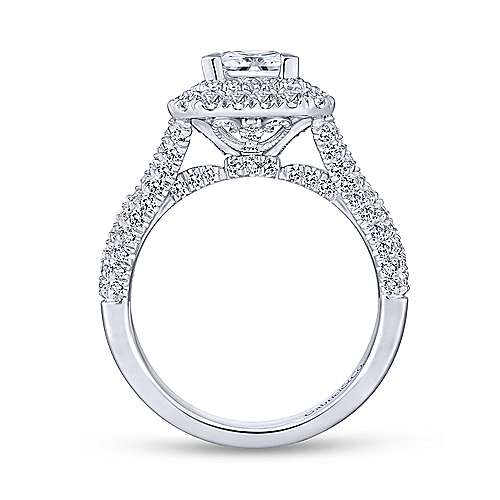 Mariella 14k White Gold Princess Cut Double Halo Engagement Ring angle 2