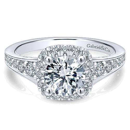 Gabriel - Marigold 14k White Gold Round Halo Engagement Ring