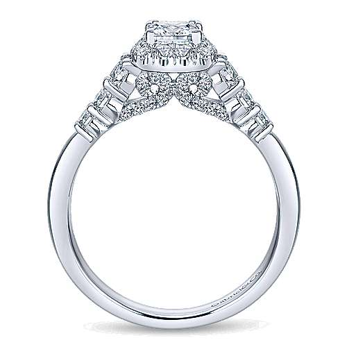 Marilla 14k White Gold Princess Cut Halo Engagement Ring angle 2