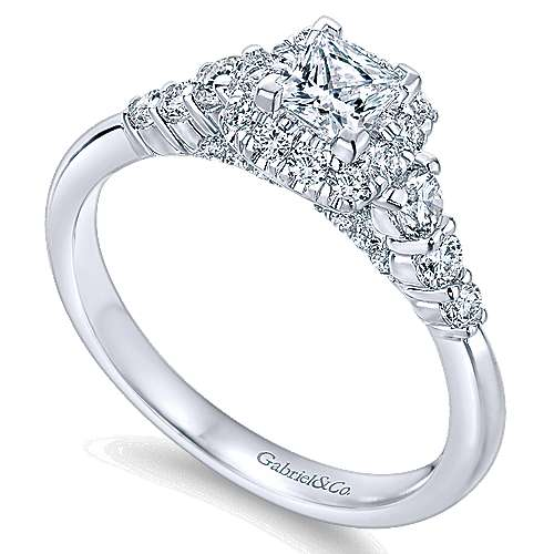 Marilla 14k White Gold Princess Cut Halo Engagement Ring angle 3