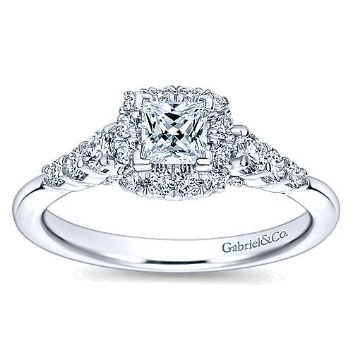 Marilla 14k White Gold Princess Cut Halo Engagement Ring angle 5