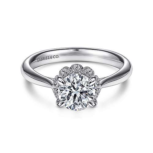 Gabriel - Mariola 18k White Gold Round Halo Engagement Ring