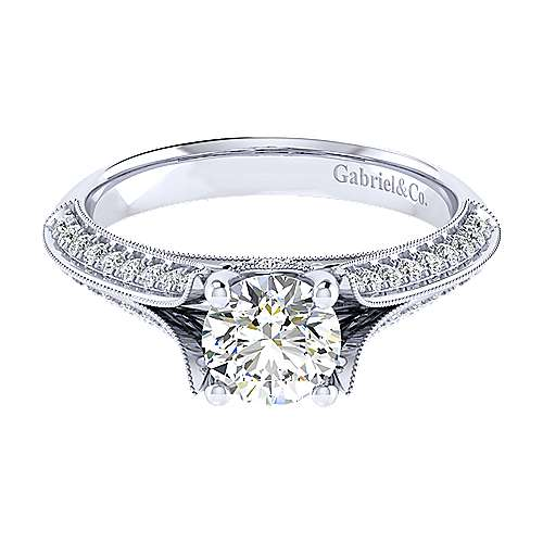 Gabriel - Marion 14k White Gold Round Split Shank Engagement Ring