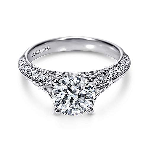 Marion 14k White Gold Round Split Shank Engagement Ring