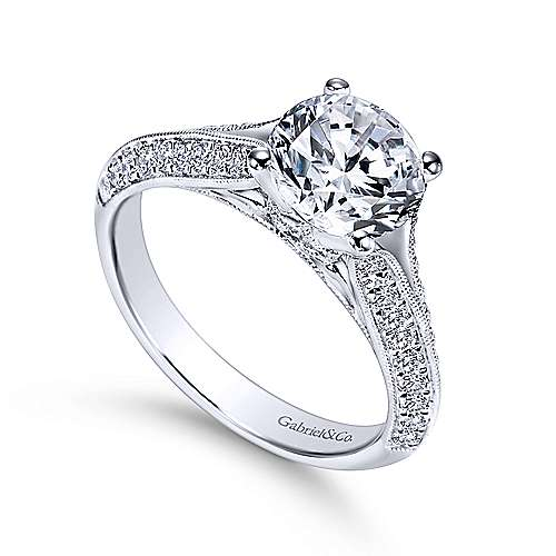 Marion 14k White Gold Round Split Shank Engagement Ring angle 3