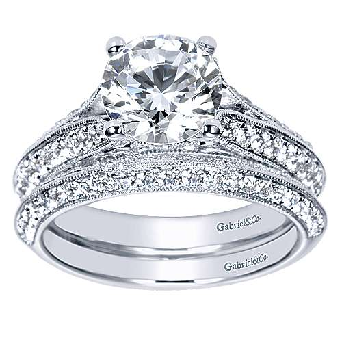 Marion 14k White Gold Round Split Shank Engagement Ring angle 4