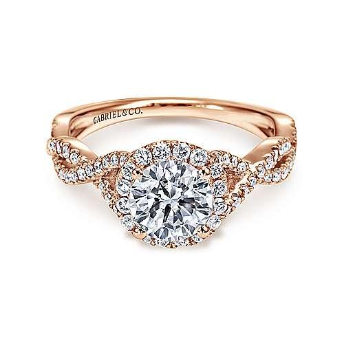Gabriel - Marissa 14k Pink Gold Round Halo Engagement Ring