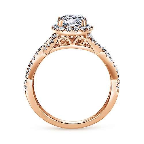 Marissa 14k Pink Gold Round Halo Engagement Ring angle 2