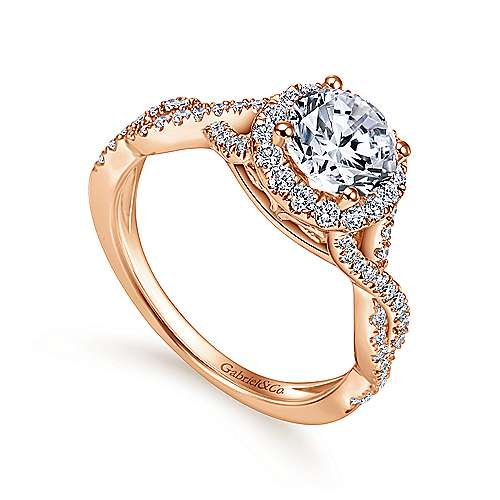 Marissa 14k Pink Gold Round Halo Engagement Ring angle 3