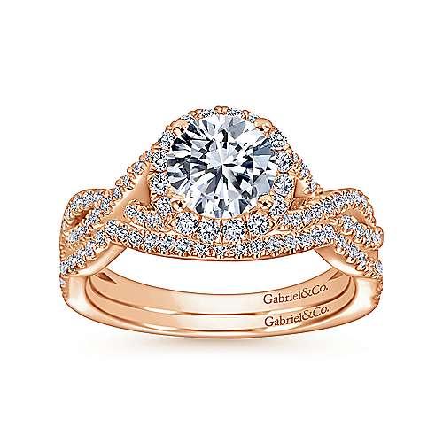Marissa 14k Pink Gold Round Halo Engagement Ring angle 4