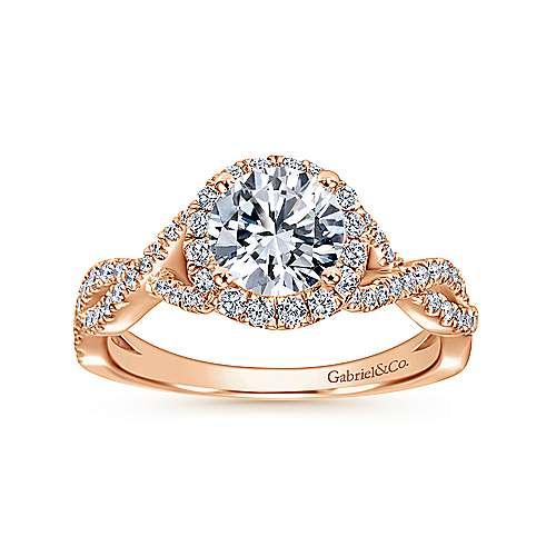 Marissa 14k Pink Gold Round Halo Engagement Ring angle 5
