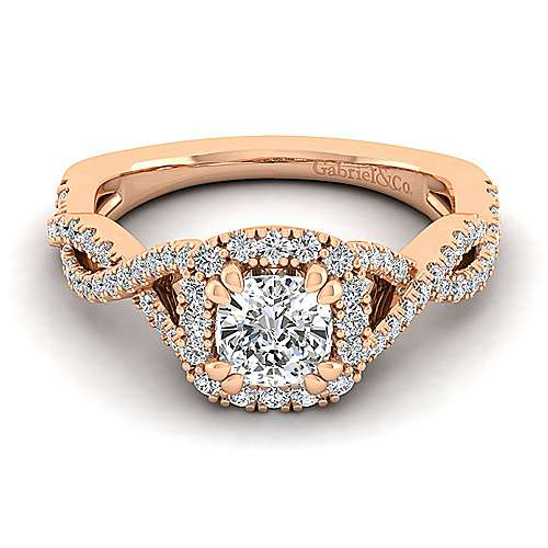 14k Rose Gold Cushion Cut Halo Er14292k44jj